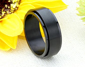 Custom Engraving 8mm 316L Stainless Steel Ring Black Color Spinner Ring Band Gift box Ship from USA(BRSR423)