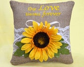 Sunflower Our Love Blooms Forever, Rustic Country Yellow Burlap Lace Embroidered Ring Bearer Pillow