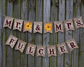 Mr and Mrs Banner , Sunflower Bridal Shower Burlap Banner , Sunflower Wedding Decoration, Country Wedding Style, Mr and Mrs
