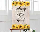 Sunflowers Wedding Welcome Sign, Rustic Welcome Wedding Sign, Welcome To Our Wedding Sign, and Sunflowers Welcome Sign, W241