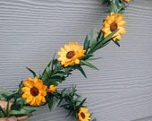 Leafy Garland With Sunflowers For Nature Themes Woodland Wedding Decor, Choose Your Length