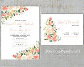 Elegant Peach Floral Summer Wedding Invitation,Coral,Ivory,Roses,Greenery,Calligraphy,Rose Gold,Shimmery,Printed Invitation,Wedding Set