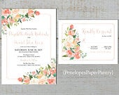 Romantic Floral Summer Wedding Invitation,Peach,Coral,Ivory,Roses,Greenery,Calligraphy,Rose Gold,Shimmery,Printed Invitation,Wedding Set
