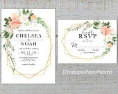 Elegant Peach Floral Geometric Frame Summer Wedding Invitation,Coral,Ivory,Roses,Greenery,Rose Gold,Shimmery,Printed Invitation,Personalize
