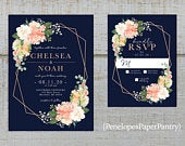 Elegant Navy Floral Geometric Frame Summer Wedding Invitation,Peach,Coral,Ivory,Roses,Greenery,Rose Gold,Shimmery,Printed Invitation