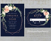 Elegant Navy Floral Geometric Frame Summer Wedding Invitation,Peach,Blush,Coral,Roses,Greenery,Rose Gold,Shimmery,Printed Invitation