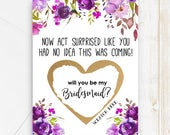 Funny Bridesmaid Scratch Off Cards SET OF 4 or more Will you be my Bridesmaid Cards Bridesmaid Proposal Cards, Now act surprised card