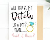 Funny Maid of Honor Card, Will You Be My Maid of Honor, Bridesmaid Proposal, Funny MOH Card, MOH Cards, Funny MOH Card