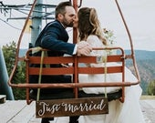 Just Married Hanging Sign Just Married Wedding Photo Prop Wooden Rustic Wedding Photography Sign Ski Lift or Carriage Hanging Sign