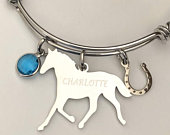 Horse Braceletengraved with Name charm bracelet with birthstone and Horse shoe charmgreat for stacking and layering
