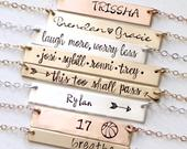 Personalized Bar Necklace. Inspirational. Hand Stamped Custom Name Bar Necklace. Mothers Gold Bar Necklace. Hand Lettering Font. Script.