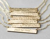 Customized Hammered Name Bar Necklace Personalized OR Blank in Silver, Gold or Rose Gold LN15532Hhm