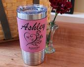 10 Personalized Bridesmaids Tumblers, Custom Bachelorette Party Favor Cups, Laser Engraved Vegan Leather 20 oz Tumbler, Stainless Steel Cup