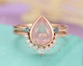 Rose quartz engagement ring Rose gold Diamond wedding band Women Curved Pear shaped London blue topaz Bridal set Jewelry Anniversary gift