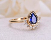 Pear shaped Sapphire engagement ring vintage 18K yellow gold Unique Simple diamond wedding Stacking bridal Anniversary