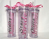 10 Personalized Bridesmaid skinny tumbler with glitter vinyl gift set wedding party gift acrylic tumbler cups