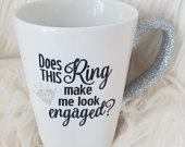 Does this ring make me look engaged Glitter Handle Mug fiance, wedding, bride, engagement, ring selfie