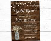 Rustic Mason Jar Bridal Shower Invitations Printed and Shipped to You Includes Invitation and White Envelopes Bridal126