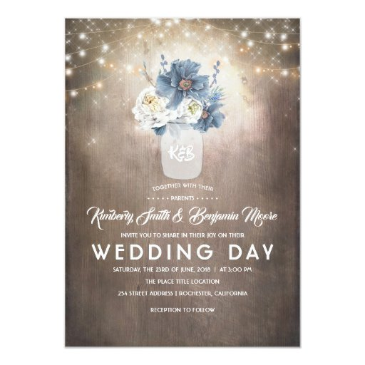 Dusty Blue Floral Mason Jar Rustic Country Wedding Invitation