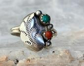 Sterling Silver Turquoise and Coral Ring, Vintage Snake Eyes Southwestern Jewelry, Ring Size 6