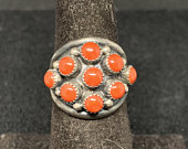 Vintage Old Pawn Sterling Silver and Zuni Snake Eye Red Coral Ring MARKED Size 5 1/2