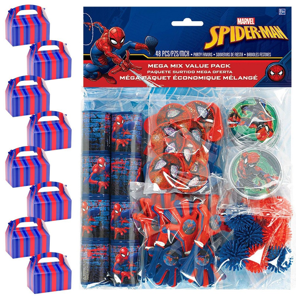 8ct Spider-Man Webbed Wonder Filled Favor Box Kit, Men's