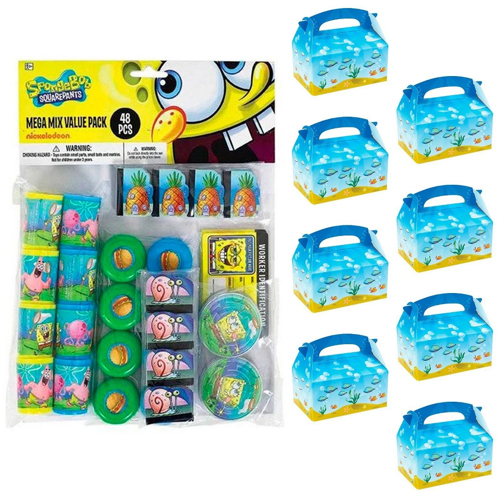 8ct SpongeBob SquarePants Filled Favor Box Kit, Men's