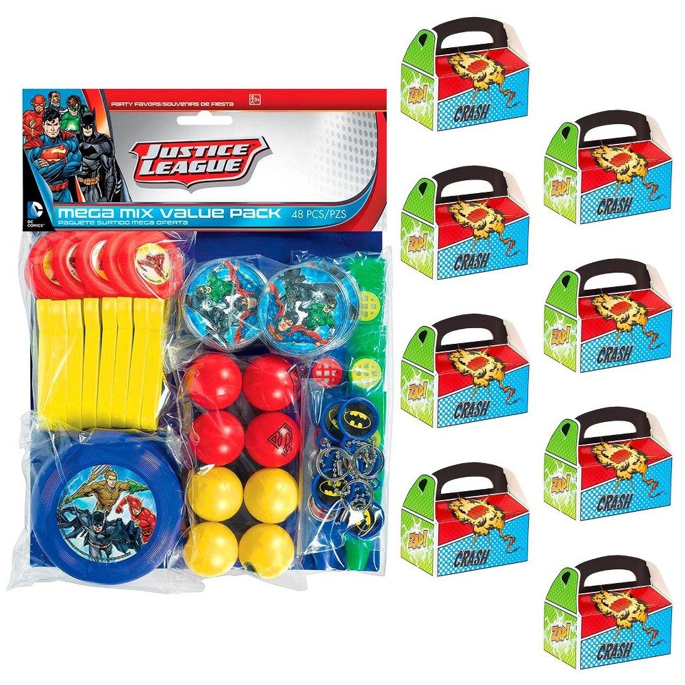 8ct Justice League Filled Favor Box Kit, Men's
