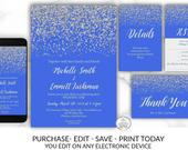 Royal Blue Silver Diamond Wedding Invitation Package Template Glitter Confetti Electronic Online DIY Cheap Invitations Blue Silver Insert
