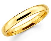 14K Solid Yellow Gold 3mm Comfort Fit Wedding Band Ring