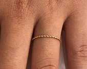 Twisted Ring in 14k Solid Gold, 1.2mm Wisper Thin Rope Infinity Band, Dainty Stacking Band, Twisted Skinny Wedding Band