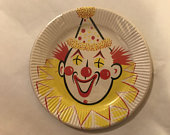 Gibson Clown Paper Plates, Paper Cake Plates, Gibson Party Papers Plastic Coated, Clown Birthday Paper Plates