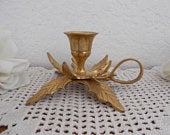 Vintage Gold Brass Holly Candle Holder Christmas Holiday Taper Candlestick Midcentury Hollywood Regency Home Decor Winter Wedding Decoration