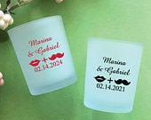 Set of 24//Personalized Custom Hers Kiss His Mustache Frosted Glass Candle Holder with Wax //Wedding Glassware Favors // Party Favors 858Ei