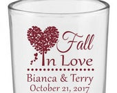 Fall wedding votive holders, personalized candle holder, fall in love, wedding favors for guests