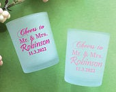 Set of 24// Personalized Custom Cheers ro Mr and Mrs Frosted Glass Candle Holder with Wax // Wedding Glassware Favors // Party Favors 858Ee