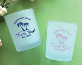 Set of 24// Personalized Custom Palm Tree Frosted Glass Candle Holder with Wax // Wedding Glassware Favors // Party Favors 858Ek