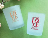 Set of 24// Personalized Custom All You Need is Love Wine Frosted Glass Candle Holder with Wax // Wedding Favors // Party Favors 858Ec