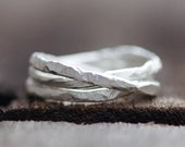 Alliance Pure Silver Hammered Rings, Triple Stack, Three Rings, Interlocking Rings, Distressed, Rustic, Dainty, Thin Bands, Fine Silver