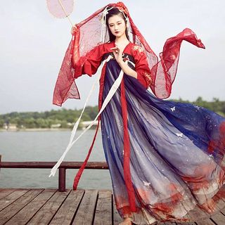 Hanfu Set: Long-Sleeve Top + Maxi Dress + Camisole + Light Jacket