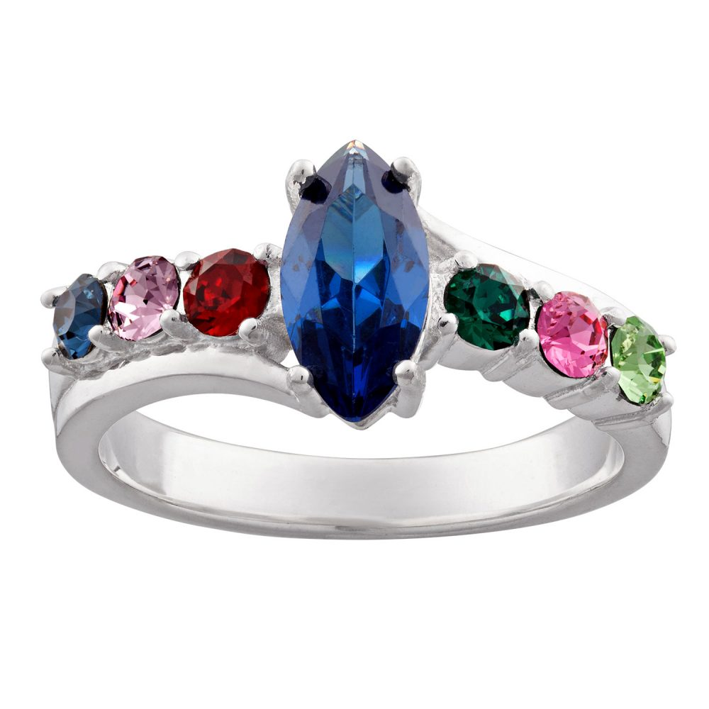 Sterling Silver Mother's Marquise Family Birthstone Ring