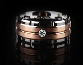 8mm Tungsten Carbide Rose Gold Plated Grooved Center 2mm CZ Wedding Band Ring. Free Gift Box