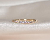 18K Gold Half Eternity Ring Wedding Band Stacking Rings Minimalist Ring CZ Eternity Ring Dainty Eternity Ring CZ Wedding Band