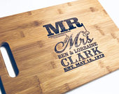 Mr Mrs Personalized Engraved Cutting Board Large Chopping Block BAMBOO Cutting Board 13 X 9.75 X .5 Wedding Gift House Christmas Gift