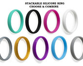 Silicone Stackable Ring For Women Rings Set Thin Wedding rubber bands Ring Anniversary Engagement Gifts gym Wife