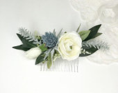 Winter Thistle Comb Blue Thistle, Ivory Ranunculus, Smilax Greenery, Astilbe and White Rose Bud Medium Silk Flower Comb
