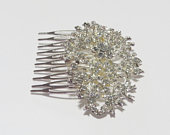 Wedding Flower Clear Crystal rhinestone Hair Comb, Silver Tone Headpieces, Wedding Accessory, Hair Comb, Bridal Rhinestone Hair Piece