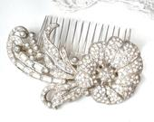 ANTIQUE Art Nouveau French Paste Hair Comb/1920s Wedding Dress Sash Brooch, Vintage Art Deco Flower Bridal Pave Rhinestone Headpiece