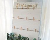 Be our guest wood seating chart sign with twine and clothespins, perryhill rustics, your seat awaits, find your seat, escort card holder