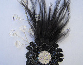 Megan Black Feather Spray Flower Hair Clip Fascinator with Ostrich Feathers Rhinestone